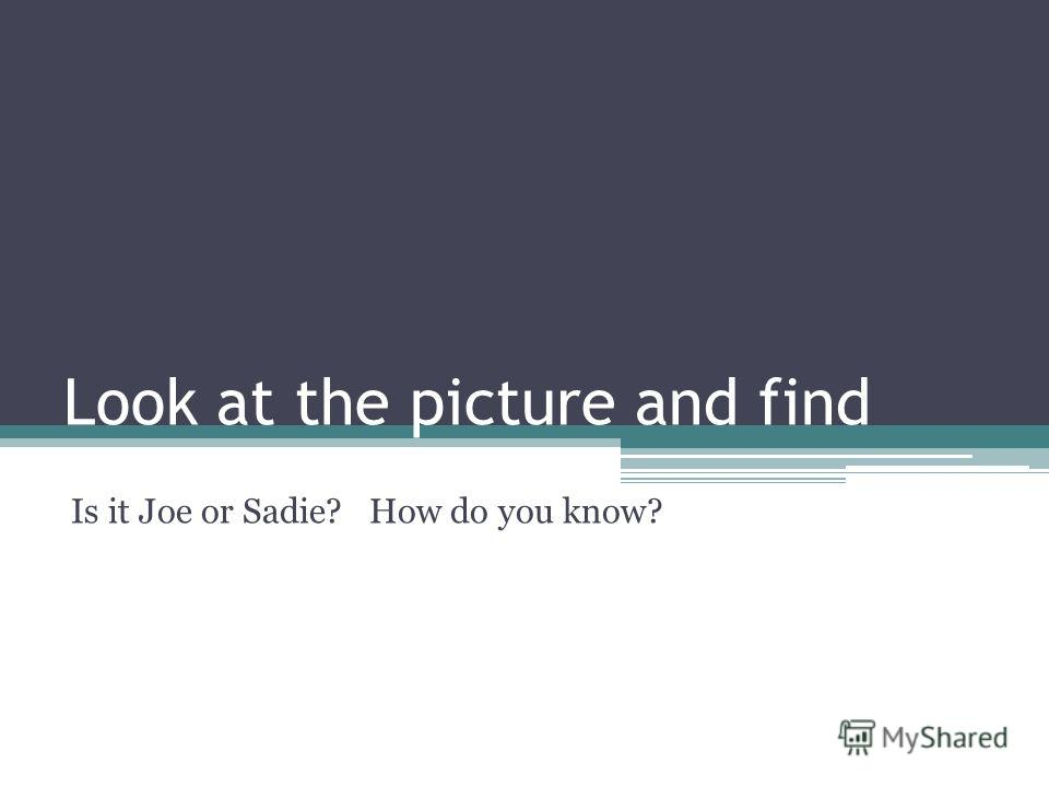 Look at the picture and find Is it Joe or Sadie? How do you know?