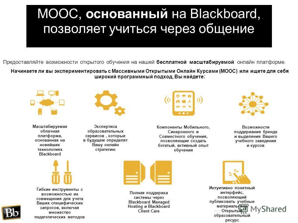 MOOC, основанный на Blackboard, позволяет учиться через общение Предоставляйте возможности открытого обучения на нашей бесплатной масштабируемой онлайн платформе. Начинаете ли вы экспериментировать с Массивными Открытыми Онлайн Курсами (MOOC) или ище