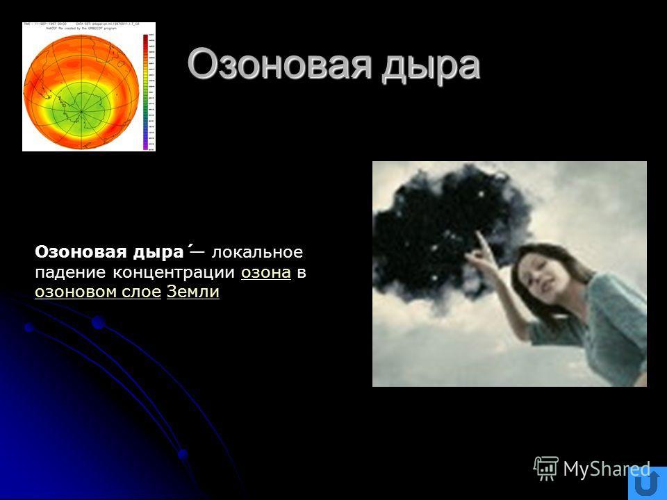 Озоновая дыра Озоновая дыра́ локальное падение концентрации озона в озоновом слое Землиозона озоновом слоеЗемли