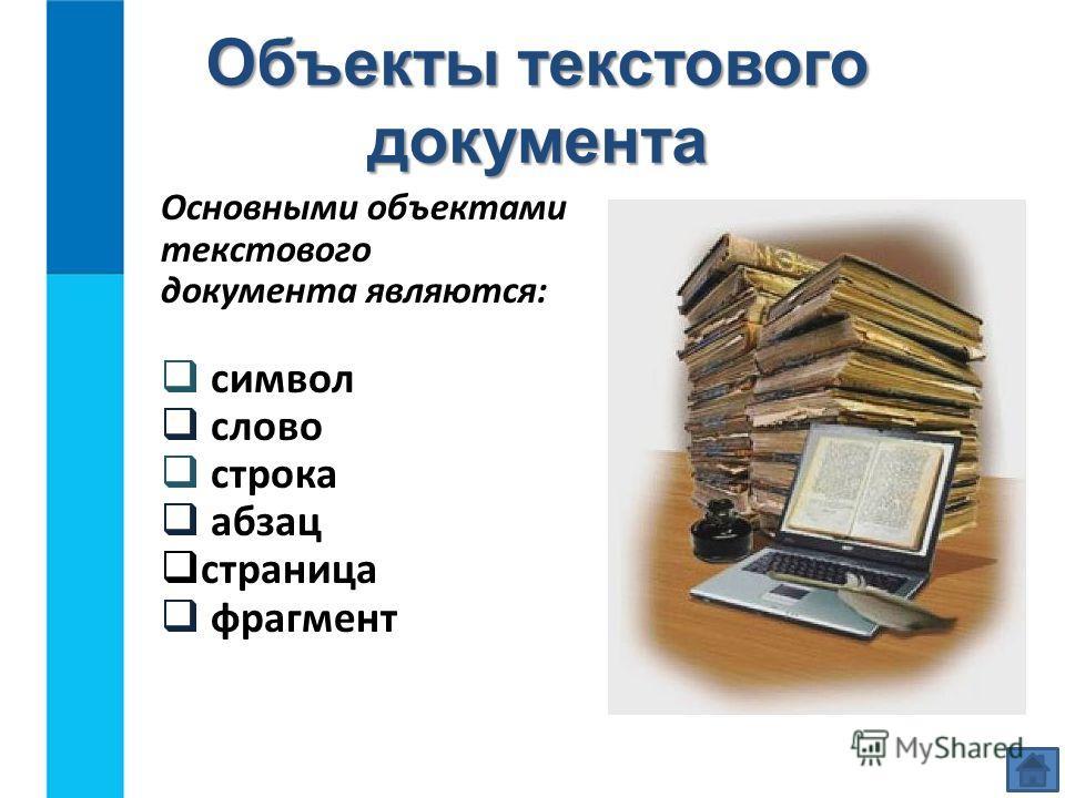 Объекты текстового документа Основными объектами текстового документа являются: символ слово строка абзац страница фрагмент