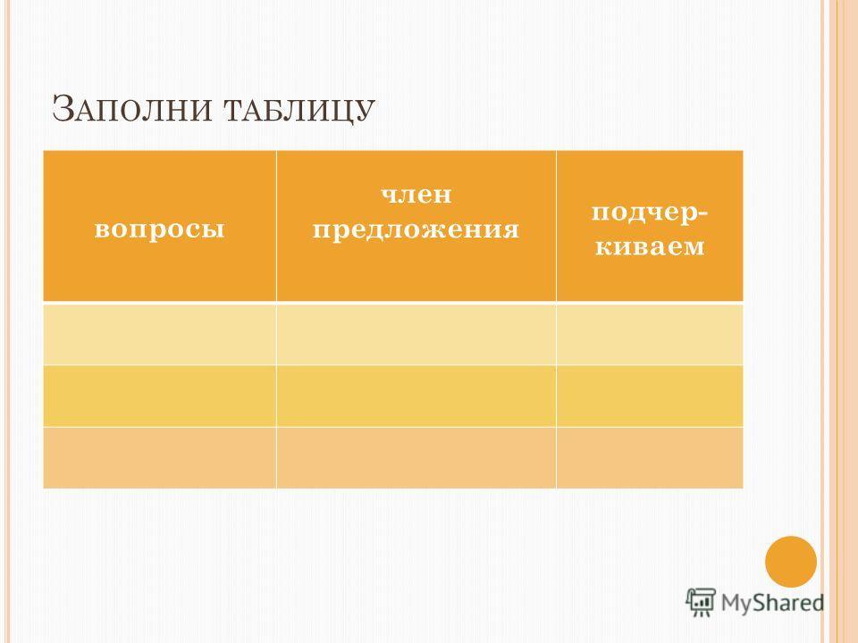 З АПОЛНИ ТАБЛИЦУ вопросы член предложения подчер- киваем