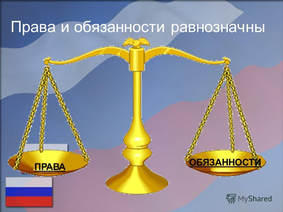 Права и обязанности равнозначны ПРАВА ОБЯЗАННОСТИ