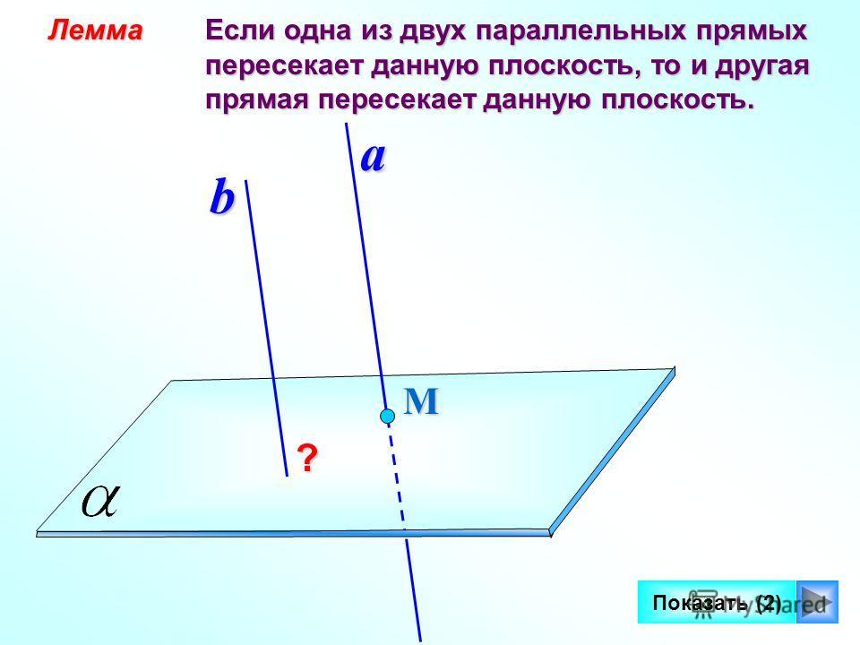 12 Лемма Лемма Если одна из двух параллельных прямых Если одна из двух параллельных прямых пересекает данную плоскость, то и другая пересекает данную плоскость, то и другая прямая пересекает данную плоскость. прямая пересекает данную плоскость. М Пок