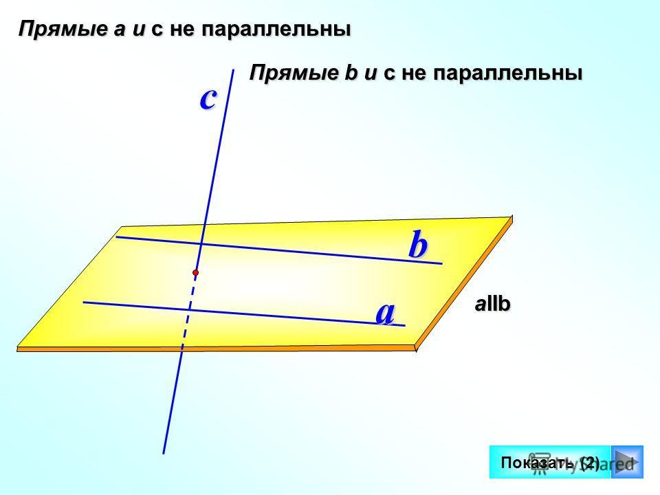 5 a b aIIb с Прямые а и с не параллельны Показать (2) Прямые b и с не параллельны