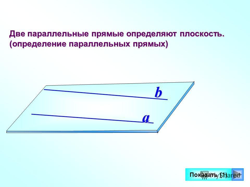 6 Две параллельные прямые определяют плоскость. (определение параллельных прямых) a b Показать (1)