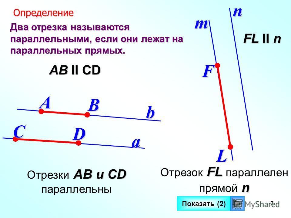 7 Два отрезка называются параллельными, если они лежат на параллельных прямых. a b Определение ОпределениеАВ СD АВ II СD mn FL FL II n Показать (2) FL Отрезок FL параллелен n прямой n АВ и СD Отрезки АВ и СD параллельны