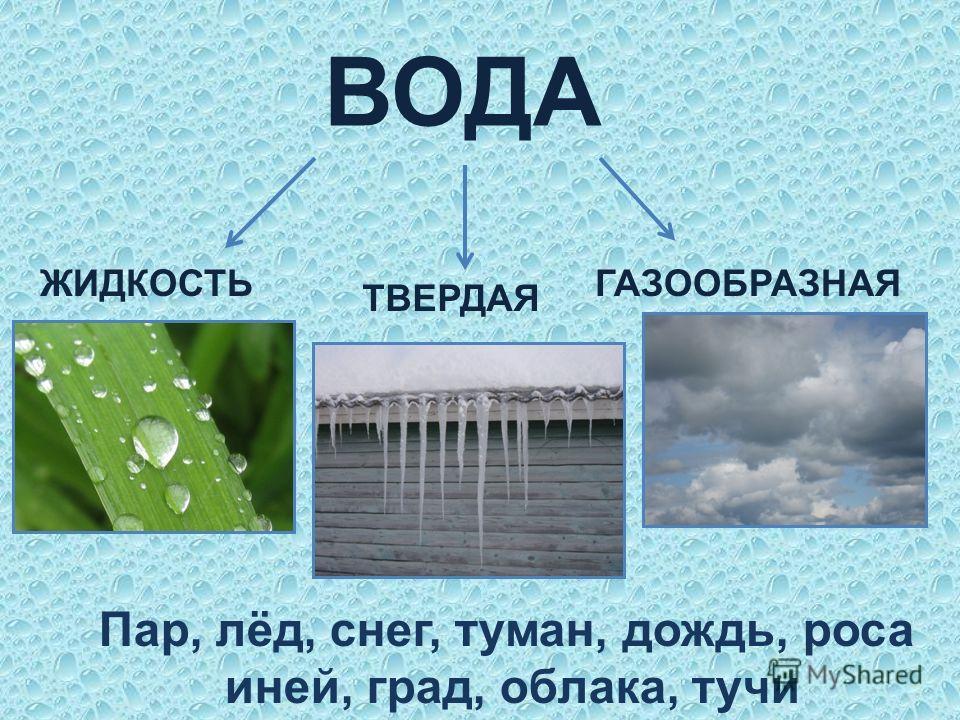 ВОДА ЖИДКОСТЬ ТВЕРДАЯ ГАЗООБРАЗНАЯ Пар, лёд, снег, туман, дождь, роса иней, град, облака, тучи