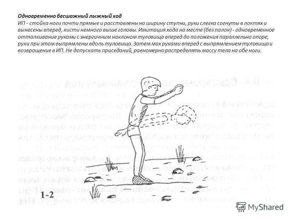 Одновременно бесшажный лыжный ход ИП - стойка ноги почти прямые и расставлены на ширину ступни, руки слегка согнуты в локтях и вынесены вперед, кисти немного выше головы. Имитация хода на месте (без палок) - одновременное отталкивание руками с энерги