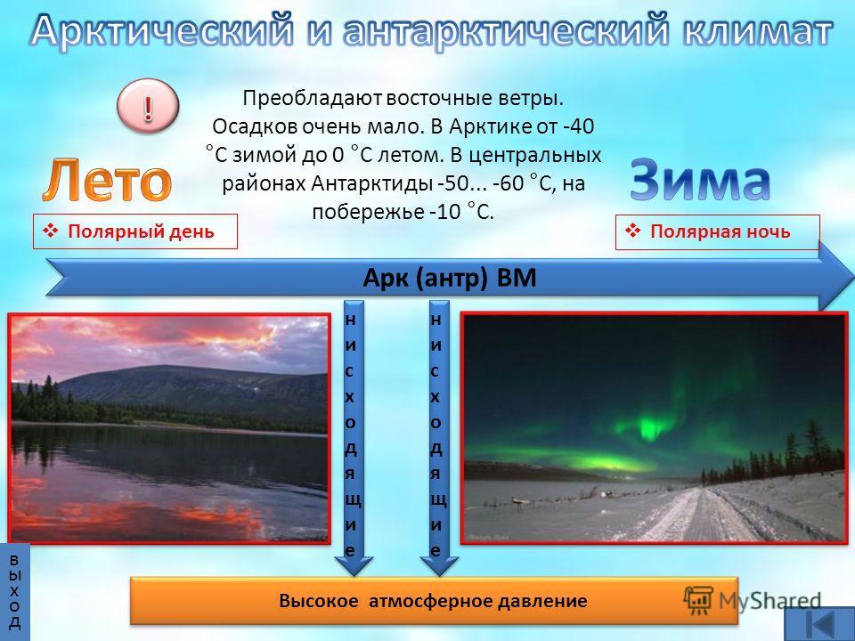 Арк (антр) ВМ Высокое атмосферное давление нисходящиенисходящие нисходящиенисходящие нисходящиенисходящие нисходящиенисходящие Преобладают восточные ветры. Осадков очень мало. В Арктике от -40 °С зимой до 0 °С летом. В центральных районах Антарктиды