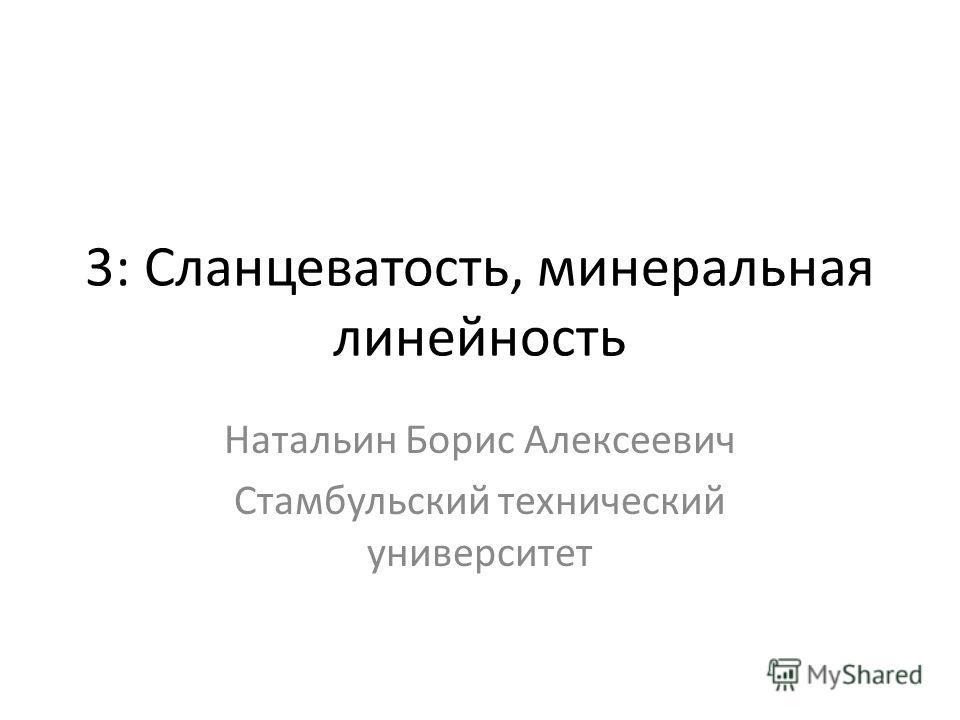 3: Сланцеватость, минеральная линейность Натальин Борис Алексеевич Стамбульский технический университет