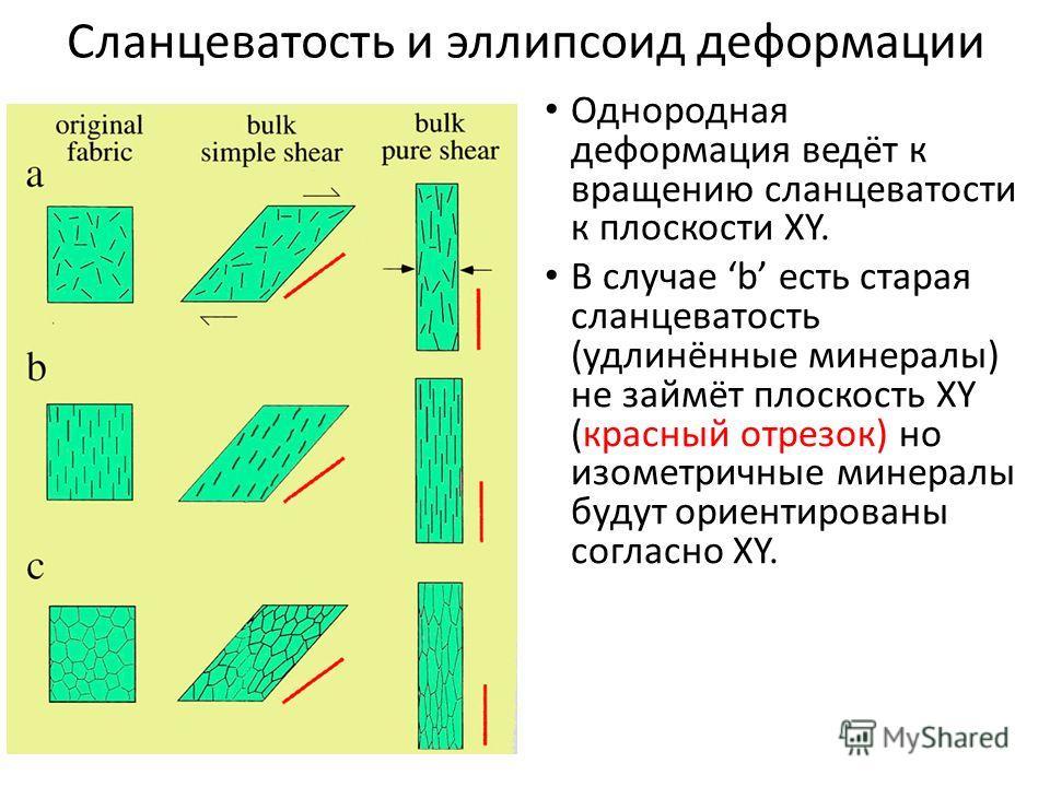 Сланцеватость и эллипсоид деформации Однородная деформация ведёт к вращению сланцеватости к плоскости XY. В случае b есть старая сланцеватость (удлинённые минералы) не займёт плоскость XY (красный отрезок) но изометричные минералы будут ориентированы