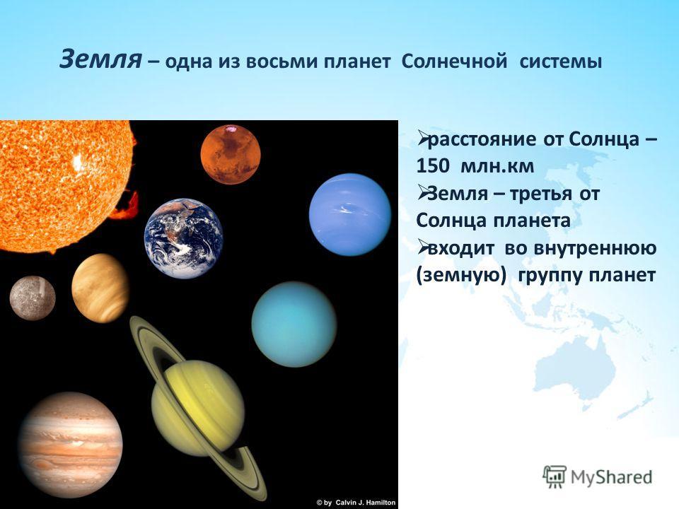 Земля – одна из восьми планет Солнечной системы расстояние от Солнца – 150 млн.км Земля – третья от Солнца планета входит во внутреннюю (земную) группу планет