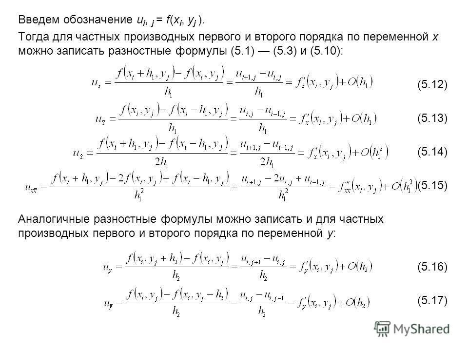 Введем обозначение u i, j = f(x i, y j ). Тогда для частных производных первого и второго порядка по переменной x можно записать разностные формулы (5.1) (5.3) и (5.10): (5.12) (5.13) (5.14) (5.15) Аналогичные разностные формулы можно записать и для