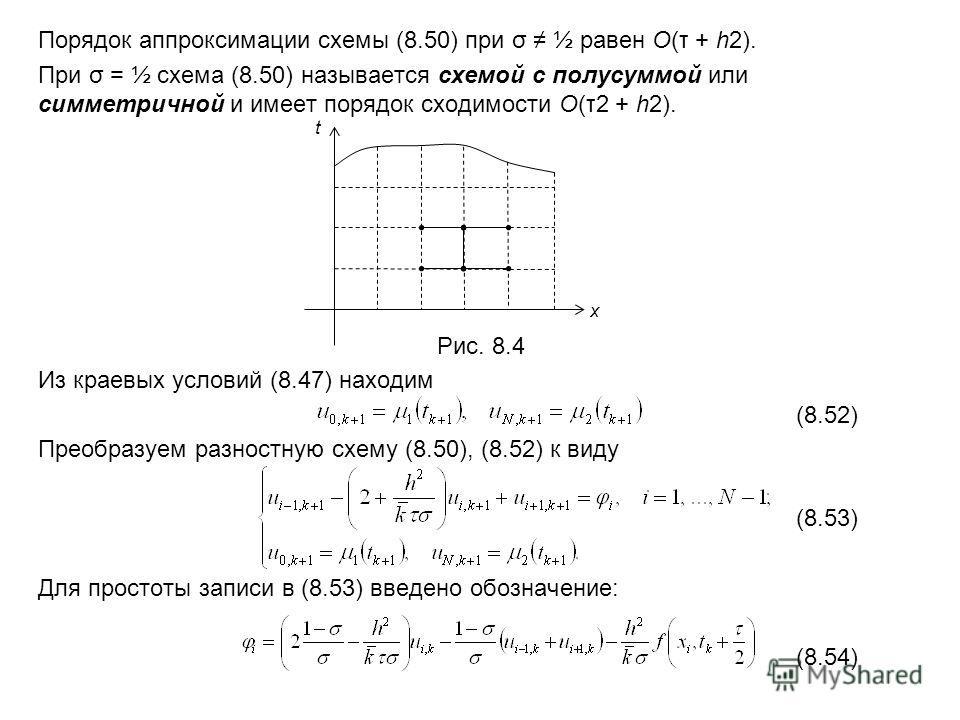 Порядок аппроксимации схемы (8.50) при σ ½ равен O(τ + h2). При σ = ½ схема (8.50) называется схемой с полусуммой или симметричной и имеет порядок сходимости O(τ2 + h2). Рис. 8.4 Из краевых условий (8.47) находим (8.52) Преобразуем разностную схему (