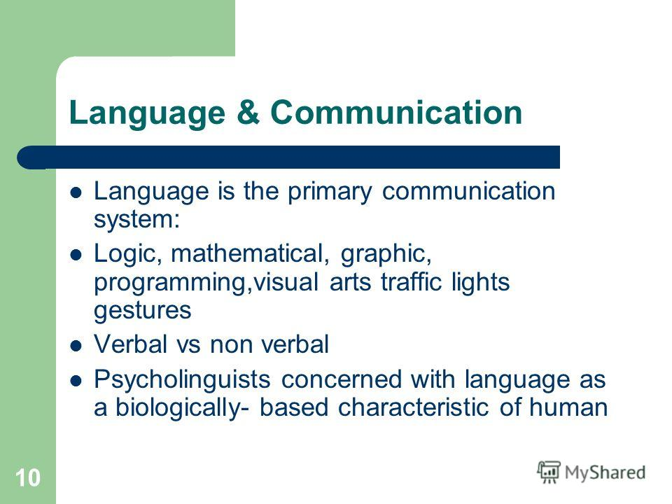 10 Language & Communication Language is the primary communication system: Logic, mathematical, graphic, programming,visual arts traffic lights gestures Verbal vs non verbal Psycholinguists concerned with language as a biologically- based characterist