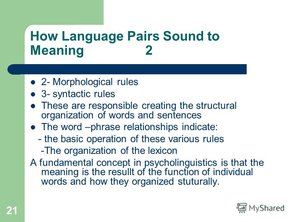 21 How Language Pairs Sound to Meaning 2 2- Morphological rules 3- syntactic rules These are responsible creating the structural organization of words and sentences The word –phrase relationships indicate: - the basic operation of these various rules