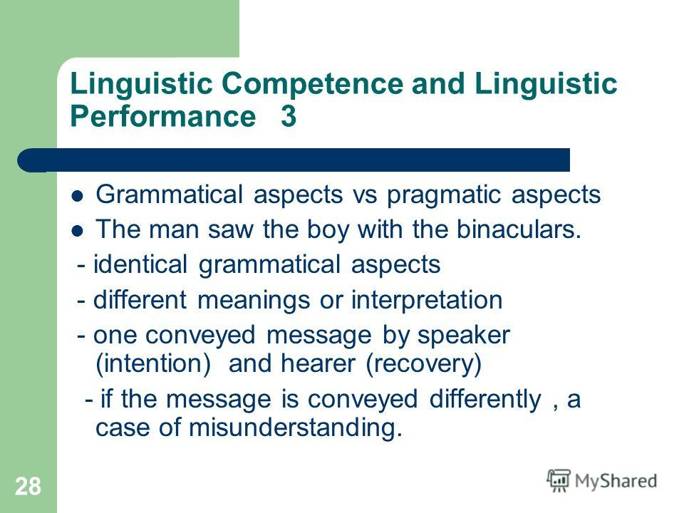 28 Linguistic Competence and Linguistic Performance 3 Grammatical aspects vs pragmatic aspects The man saw the boy with the binaculars. - identical grammatical aspects - different meanings or interpretation - one conveyed message by speaker (intentio