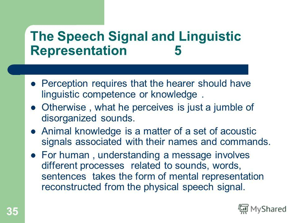 35 The Speech Signal and Linguistic Representation 5 Perception requires that the hearer should have linguistic competence or knowledge. Otherwise, what he perceives is just a jumble of disorganized sounds. Animal knowledge is a matter of a set of ac