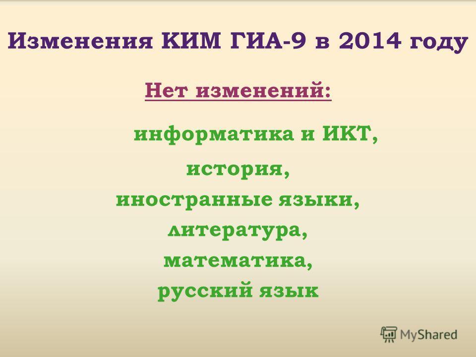 Изменения КИМ ГИА-9 в 2014 году Нет изменений: информатика и ИКТ, история, иностранные языки, литература, математика, русский язык