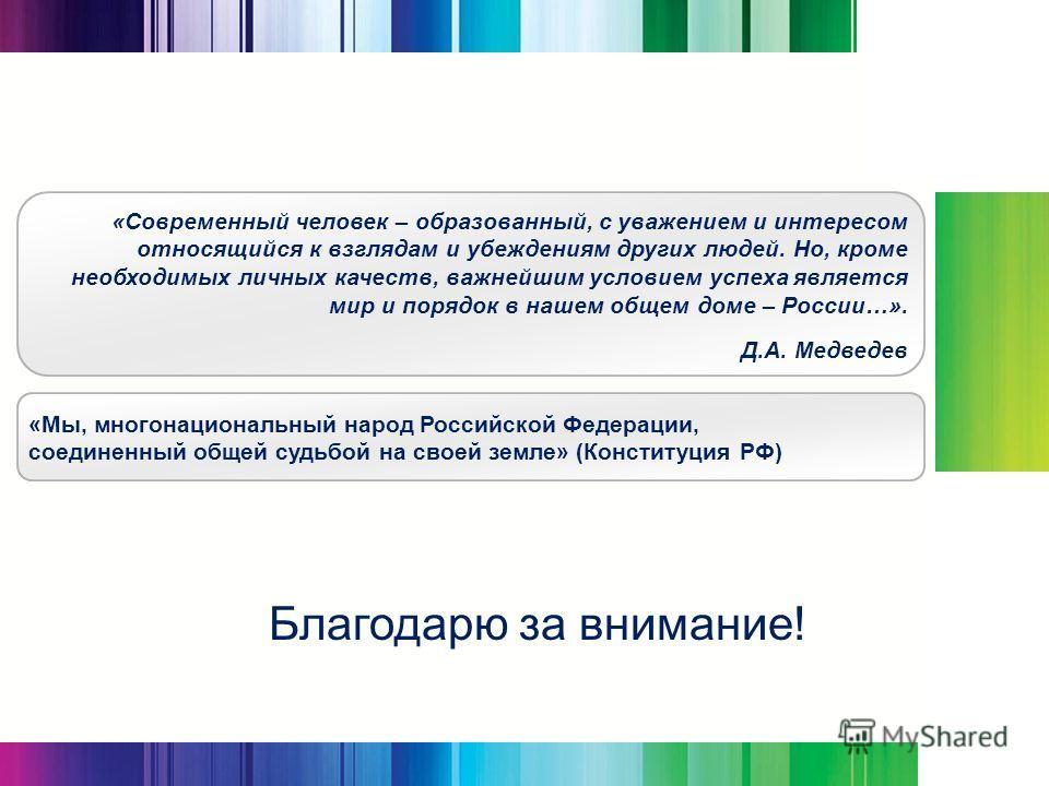 Благодарю за внимание! «Современный человек – образованный, с уважением и интересом относящийся к взглядам и убеждениям других людей. Но, кроме необходимых личных качеств, важнейшим условием успеха является мир и порядок в нашем общем доме – России…»