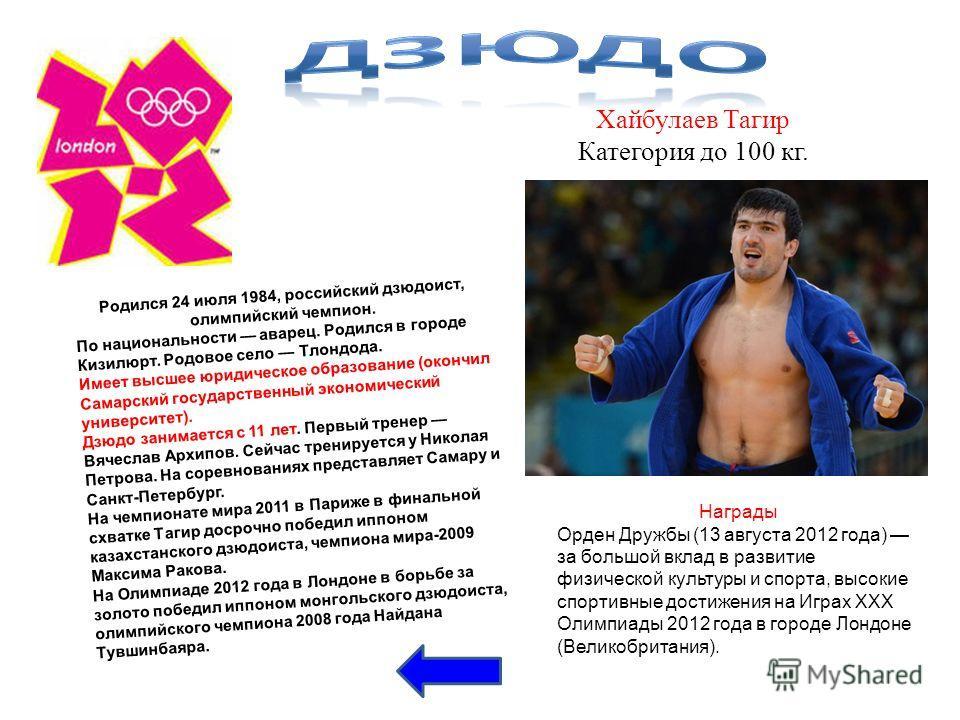 Хайбулаев Тагир Категория до 100 кг. Родился 24 июля 1984, российский дзюдоист, олимпийский чемпион. По национальности аварец. Родился в городе Кизилюрт. Родовое село Тлондода. Имеет высшее юридическое образование (окончил Самарский государственный э