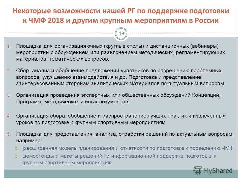 Некоторые возможности нашей РГ по поддержке подготовки к ЧМФ 2018 и другим крупным мероприятиям в России 19 1. Площадка для организация очных (круглые столы) и дистанционных (вебинары) мероприятий с обсуждением или разъяснением методических, регламен