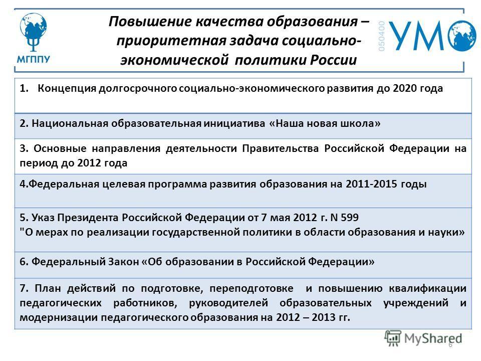 Повышение качества образования – приоритетная задача социально- экономической политики России 6 1.Концепция долгосрочного социально-экономического развития до 2020 года 2. Национальная образовательная инициатива «Наша новая школа» 3. Основные направл