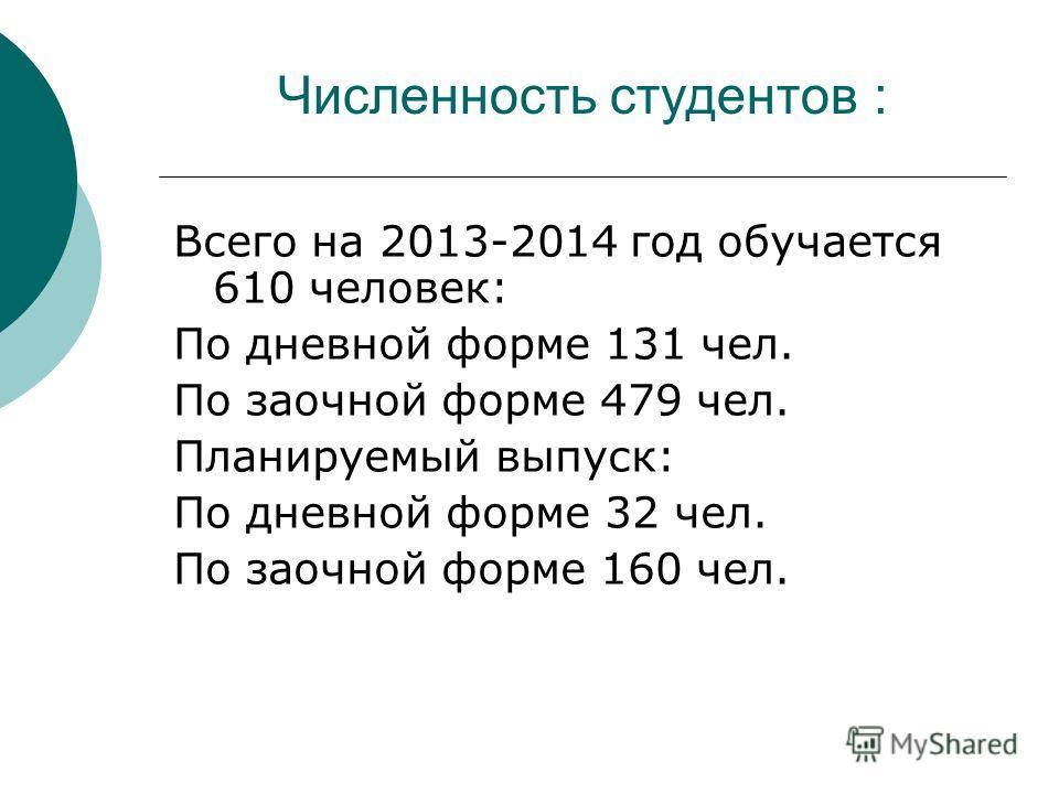 Численность студентов : Всего на 2013-2014 год обучается 610 человек: По дневной форме 131 чел. По заочной форме 479 чел. Планируемый выпуск: По дневной форме 32 чел. По заочной форме 160 чел.