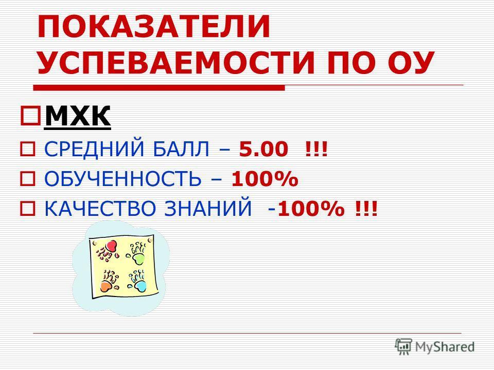ПОКАЗАТЕЛИ УСПЕВАЕМОСТИ ПО ОУ МХК СРЕДНИЙ БАЛЛ – 5.00 !!! ОБУЧЕННОСТЬ – 100% КАЧЕСТВО ЗНАНИЙ -100% !!!