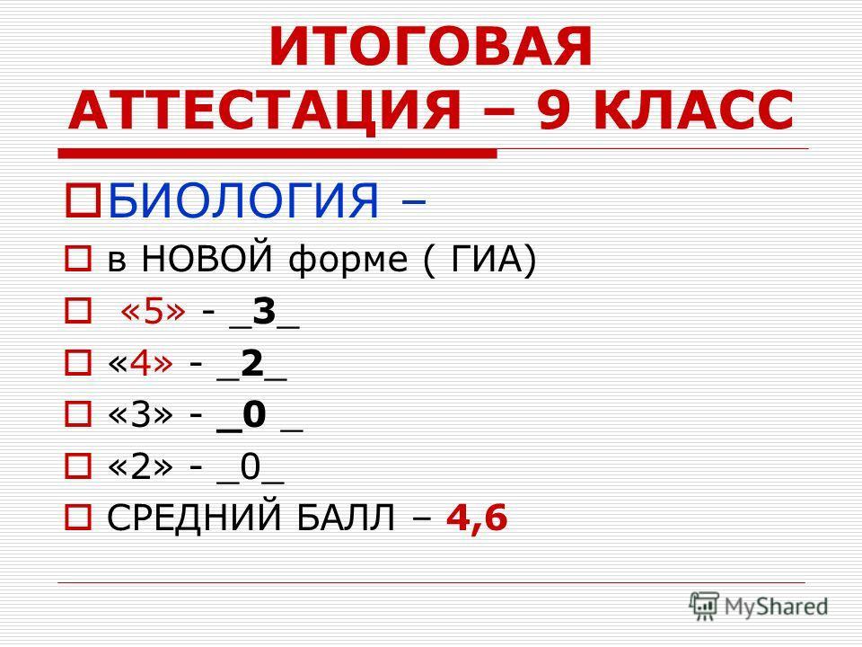 ИТОГОВАЯ АТТЕСТАЦИЯ – 9 КЛАСС БИОЛОГИЯ – в НОВОЙ форме ( ГИА) «5» - _3_ «4» - _2_ «3» - _0 _ «2» - _0_ СРЕДНИЙ БАЛЛ – 4,6