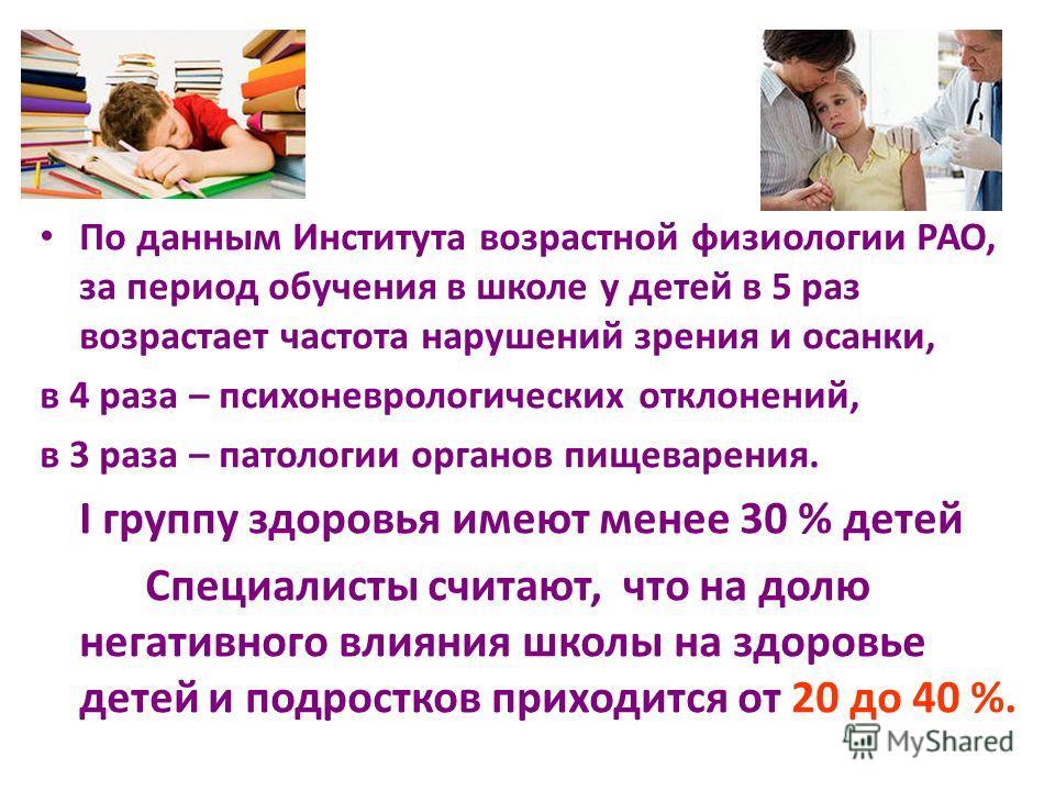 По данным Института возрастной физиологии РАО, за период обучения в школе у детей в 5 раз возрастает частота нарушений зрения и осанки, в 4 раза – психоневрологических отклонений, в 3 раза – патологии органов пищеварения. I группу здоровья имеют мене