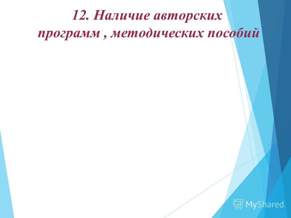 12. Наличие авторских программ, методических пособий