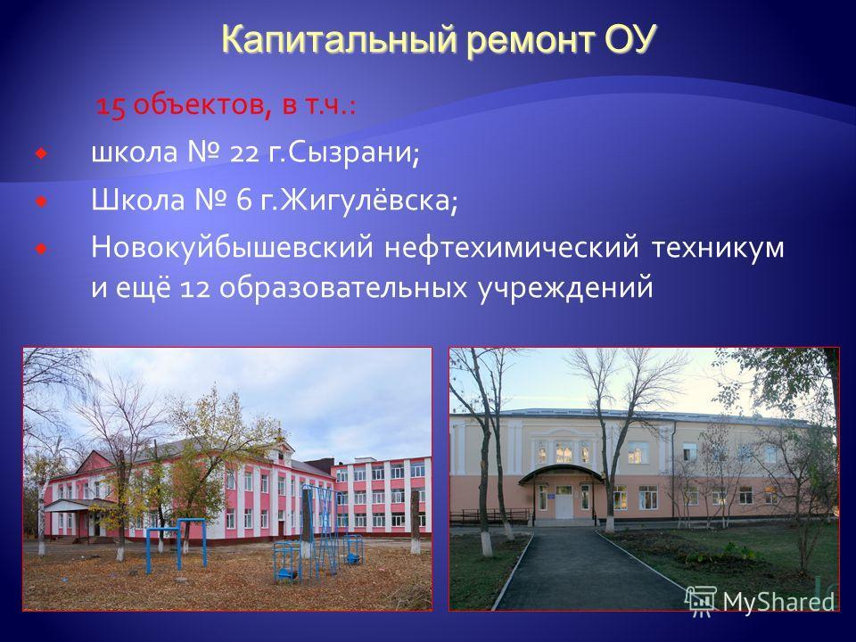 Капитальный ремонт ОУ школа 22 г.Сызрани; Школа 6 г.Жигулёвска; Новокуйбышевский нефтехимический техникум и ещё 12 образовательных учреждений 15 объектов, в т.ч.: