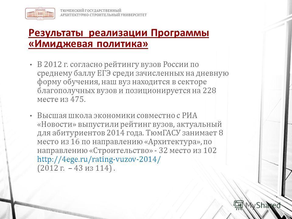 ТЮМЕНСКИЙ ГОСУДАРСТВЕННЫЙ АРХИТЕКТУРНО-СТРОИТЕЛЬНЫЙ УНИВЕРСИТЕТ Результаты реализации Программы «Имиджевая политика» В 2012 г. согласно рейтингу вузов России по среднему баллу ЕГЭ среди зачисленных на дневную форму обучения, наш вуз находится в секто