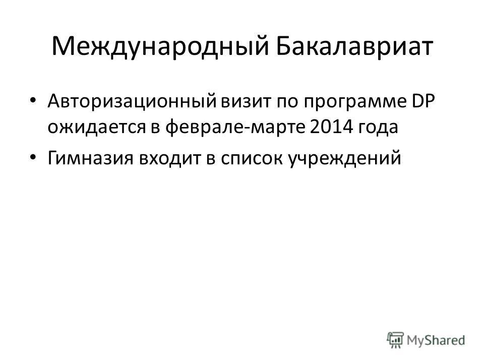 Международный Бакалавриат Авторизационный визит по программе DP ожидается в феврале-марте 2014 года Гимназия входит в список учреждений