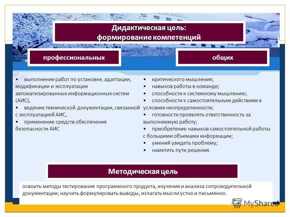 Дидактическая цель: формирование формирование компетенций профессиональных Методическая цель общих выполнение работ по установке, адаптации, модификации и эксплуатации автоматизированных информационных систем (АИС), ведение технической документации,