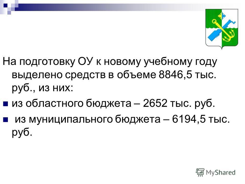 На подготовку ОУ к новому учебному году выделено средств в объеме 8846,5 тыс. руб., из них: из областного бюджета – 2652 тыс. руб. из муниципального бюджета – 6194,5 тыс. руб.