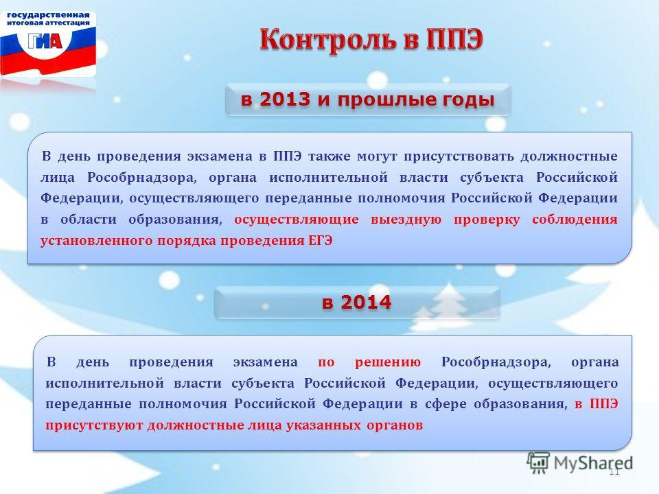 В день проведения экзамена в ППЭ также могут присутствовать должностные лица Рособрнадзора, органа исполнительной власти субъекта Российской Федерации, осуществляющего переданные полномочия Российской Федерации в области образования, осуществляющие в