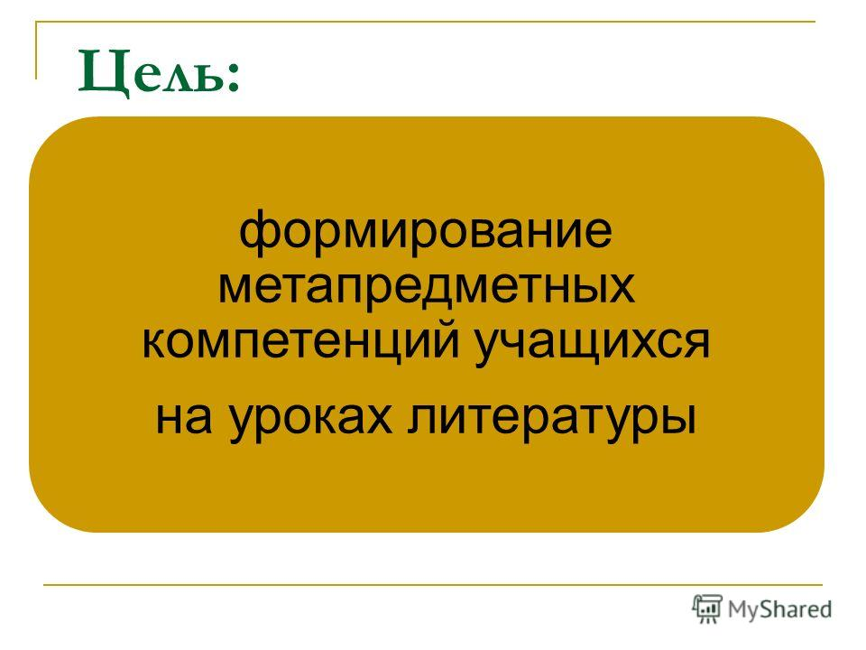 Цель: формирование метапредметных компетенций учащихся на уроках литературы