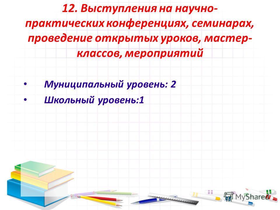 12. Выступления на научно- практических конференциях, семинарах, проведение открытых уроков, мастер- классов, мероприятий Муниципальный уровень: 2 Школьный уровень:1