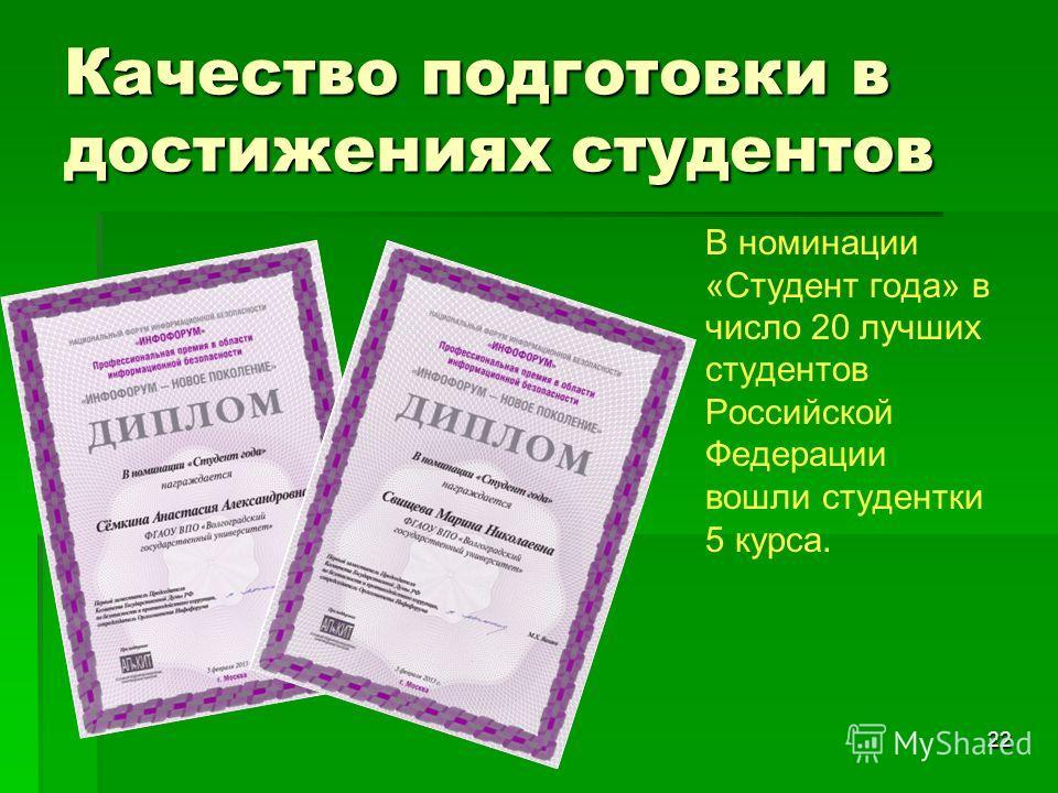 Качество подготовки в достижениях студентов 22 В номинации «Студент года» в число 20 лучших студентов Российской Федерации вошли студентки 5 курса.