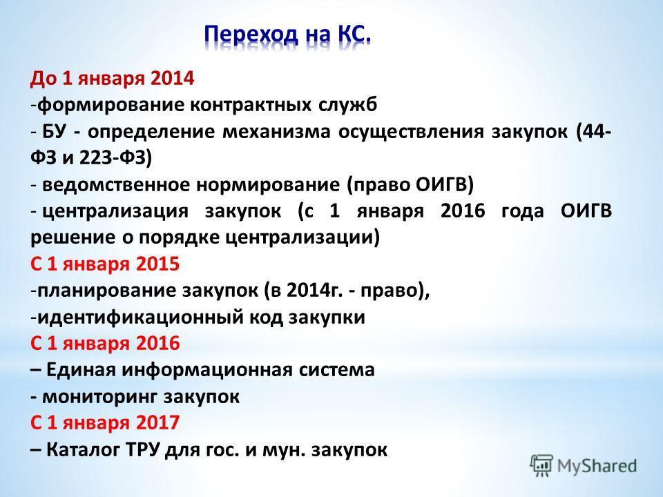 До 1 января 2014 -формирование контрактных служб - БУ - определение механизма осуществления закупок (44- ФЗ и 223-ФЗ) - ведомственное нормирование (право ОИГВ) - централизация закупок (с 1 января 2016 года ОИГВ решение о порядке централизации) С 1 ян