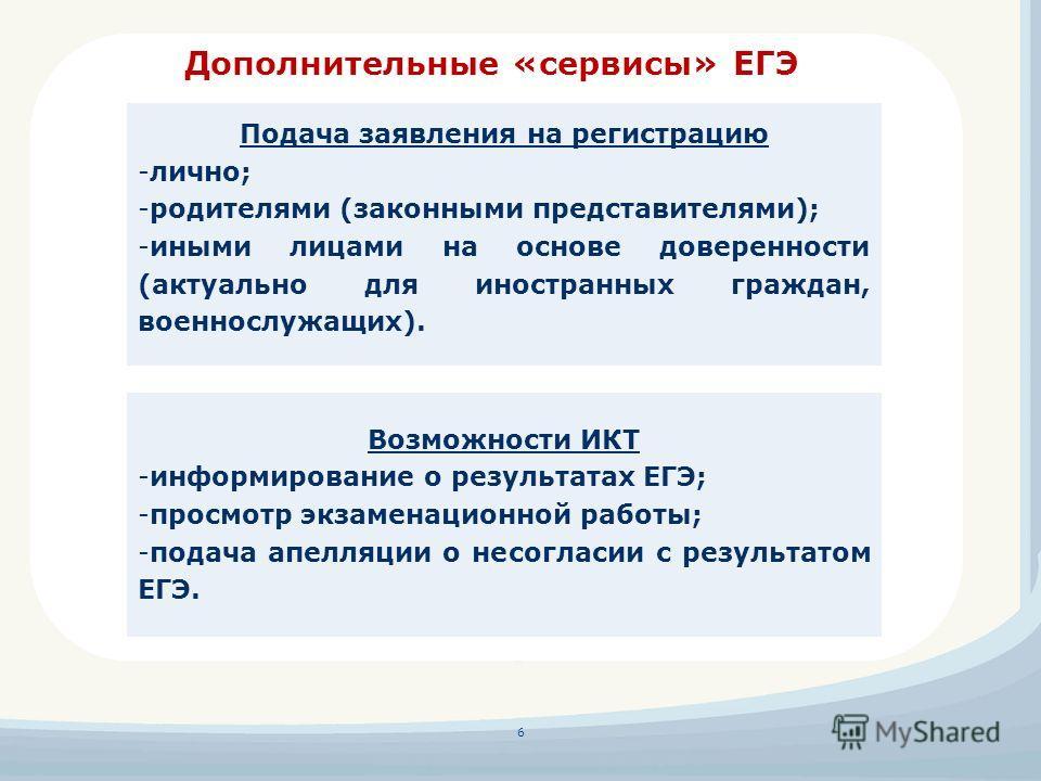 Дополнительные «сервисы» ЕГЭ 6 Подача заявления на регистрацию -лично; -родителями (законными представителями); -иными лицами на основе доверенности (актуально для иностранных граждан, военнослужащих). Возможности ИКТ -информирование о результатах ЕГ