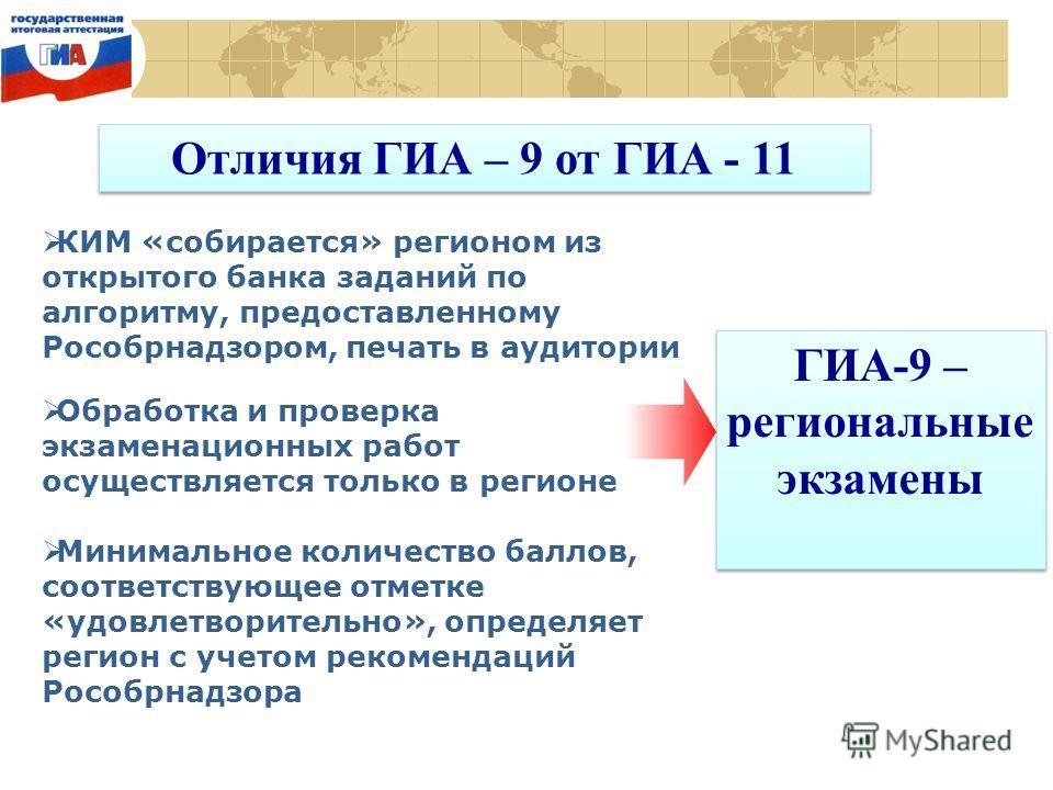 Отличия ГИА – 9 от ГИА - 11 КИМ «собирается» регионом из открытого банка заданий по алгоритму, предоставленному Рособрнадзором, печать в аудитории Обработка и проверка экзаменационных работ осуществляется только в регионе Минимальное количество балло