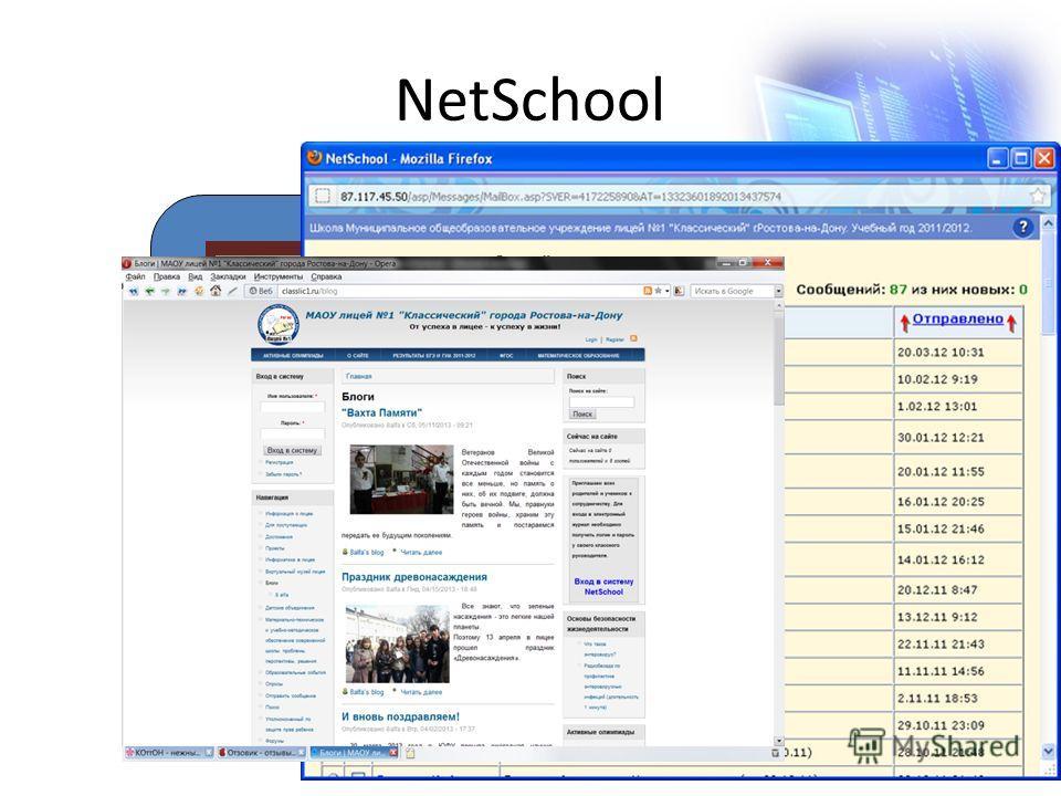 NetSchool дистанционное взаимодействие участников образовательного процесса, общение между пользователями системы: форум, доска объявлений, почтовые сообщения, портфолио обучающихся и учителей, средства для проектной деятельности;