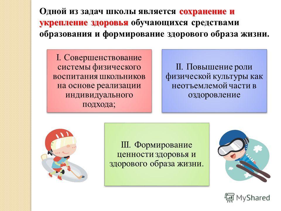 сохранение и укрепление здоровья Одной из задач школы является сохранение и укрепление здоровья обучающихся средствами образования и формирование здорового образа жизни. I. Совершенствование системы физического воспитания школьников на основе реализа