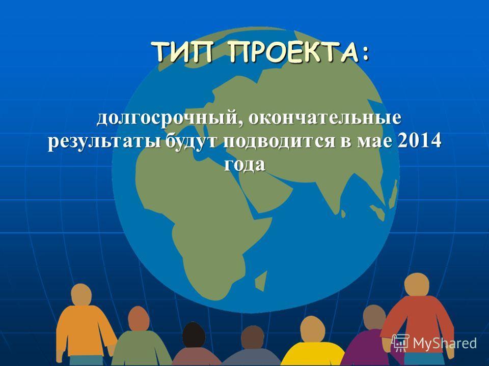 ТИП ПРОЕКТА: долгосрочный, окончательные результаты будут подводится в мае 2014 года