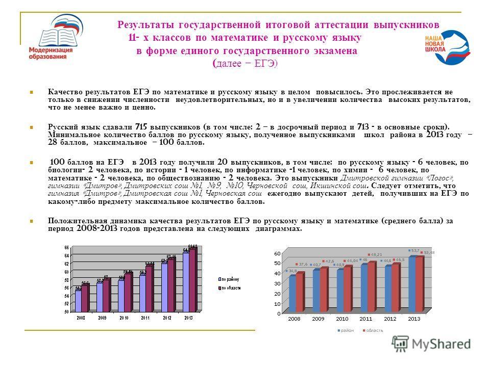 Результаты государственной итоговой аттестации выпускников 11- х классов по математике и русскому языку в форме единого государственного экзамена ( далее – ЕГЭ ) Качество результатов ЕГЭ по математике и русскому языку в целом повысилось. Это прослежи