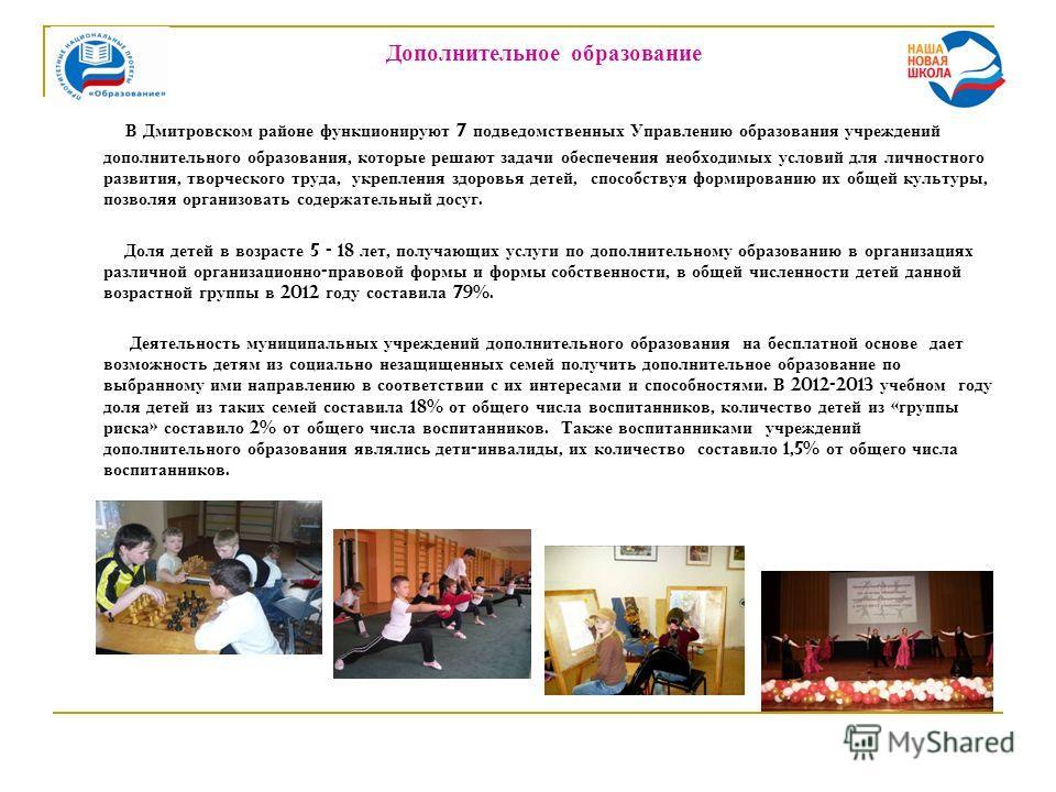Дополнительное образование В Дмитровском районе функционируют 7 подведомственных Управлению образования учреждений дополнительного образования, которые решают задачи обеспечения необходимых условий для личностного развития, творческого труда, укрепле