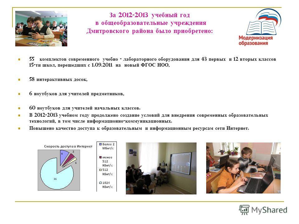 За 2012-2013 учебный год в общеобразовательные учреждения Дмитровского района было приобретено : 55 комплектов современного учебно - лабораторного оборудования для 43 первых и 12 вторых классов 15- ти школ, перешедших с 1.09.2011 на новый ФГОС НОО, 5
